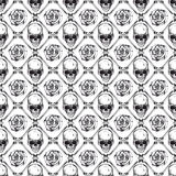 Skull_rose_background 皇族释放例证