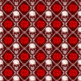 Skull rose background. Abstract vector illustration skulls and red roses. Seamless background for print on fabric or t-shirt Stock Images