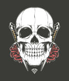 Skull Rose and Dagger Stock Photography