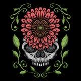 Skull rose decoration vector illustration stock illustration