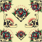 Skull and Rose Frames. In old school tattoo style set 04. You guys can edit all the colors by yourself stock illustration