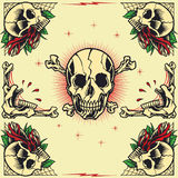 Skull and Rose Frames. In old school tattoo style set 05. You guys can edit all the colors by yourself stock illustration