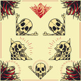 Skull and Rose Frames set 01. Skull and Rose Frames in old school tattoo style set 01 royalty free illustration
