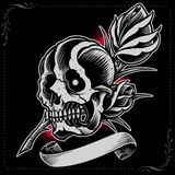 Skull, Rose and Ribbon Royalty Free Stock Photo