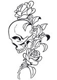 Skull and Rose Tattoo. Vector Design Stock Photography