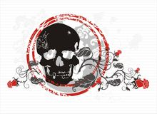 Skull with roses. Black silhouette of skull with red roses Royalty Free Stock Photography