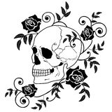 Skull and roses Royalty Free Stock Images
