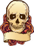 Skull roses and banner illustration Royalty Free Stock Photo