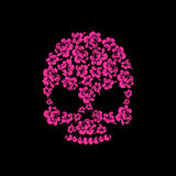Skull of roses on a black background. Flower skull man. Vector i Stock Photos