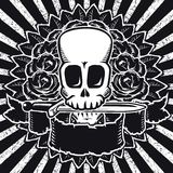 Skull roses BW Stock Image