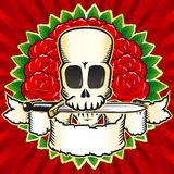Skull roses color Royalty Free Stock Photo