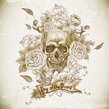Skull with Roses Day of The Dead Stock Photo