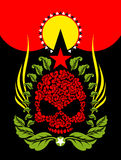 Skull Roses. Flowers and star. Fantastic Totem. Stock Photography