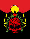 Skull Roses. Flowers and star. Fantastic Totem. Vector illustrat Royalty Free Stock Images
