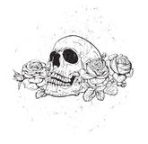 Skull with roses Royalty Free Stock Images