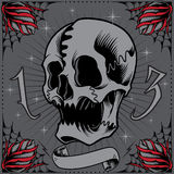 Skull and Roses Frame. In Old school tattoo style. Elements vector for use royalty free illustration
