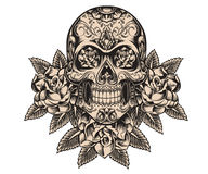 Skull and roses illustration royalty free illustration