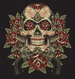 Skull and Roses with Revolvers Tattoo Illustration.  Royalty Free Stock Photography