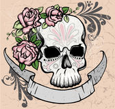 Skull with roses Stock Photography