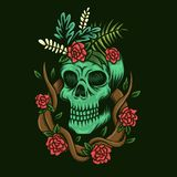 Skull and roses vector illustration royalty free illustration