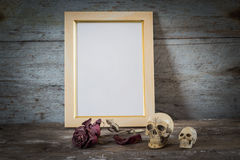 Skull, roses and Vintage photo frame Stock Photos