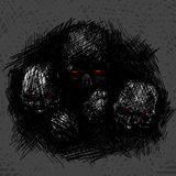 Skull rough hatch texture.  illustration. Design for t-shirt print Royalty Free Stock Photography