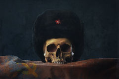 Skull with russian Uschanka and Flag Royalty Free Stock Photography