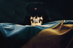 Skull with russian Ushanka on ukraine Flag Stock Image