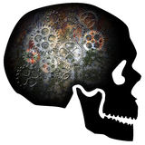 Skull with Rusty Gears Illustration Stock Photos
