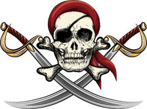 Skull with sabers Stock Images