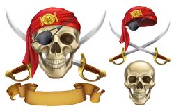 Skull and sabers. Pirate emblem. vector icon set Royalty Free Stock Photos