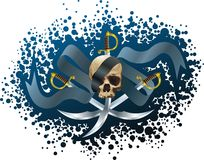 Skull, sabers and ribbon Royalty Free Stock Photo