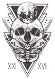 Skull Sacred Geometry Design Stock Image