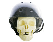 Skull with safety helmet. Stock Images