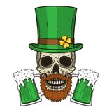 The skull of Saint Patrick`s with green hat and clover leaves. Irish skull. St.Patrick skull vector. The skull of Saint Patrick`s with green hat and clover stock illustration