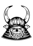 Skull in samurai helmet with horns Royalty Free Stock Photo