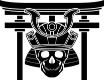 Skull of samurai and torii gate Stock Photography