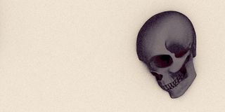 Skull on sand, Apocalypse and hell concept, 3d rendering. Royalty Free Stock Images