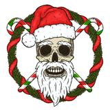 The skull of Santa Claus in the background of the branches of the Christmas tree and crossed candies. Santa claus skull. Cartoon skull isolated on white Royalty Free Stock Image