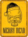 Skull Santa Claus with hat on sign danger. Black vintage engraving Royalty Free Stock Photo