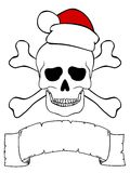 Skull with santa hat, crossed bones and empty ribbon for your text Stock Photo