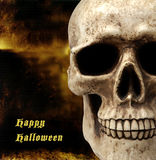 Skull with Scary background. And happy halloween Royalty Free Illustration