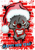 Skull scary evil clown in Santa hat Royalty Free Stock Images