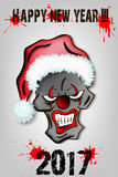 Skull scary evil clown in Santa hat Stock Image