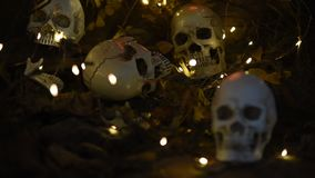 Halloween scene. Skull and scary scene for Halloween stock video footage