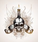 Skull, scroll and candle Stock Image