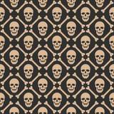 Skull seamless dark pattern Stock Image