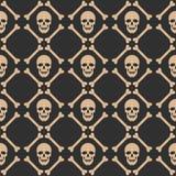 Skull seamless dark pattern Stock Images
