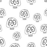 Skull pattern. Skull seamless pattern. black and white illustration. Element for your designs - wallpaper, fabric and textile print. Halloween concept Stock Image