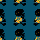 Skull seamless pattern on blue background Royalty Free Stock Image
